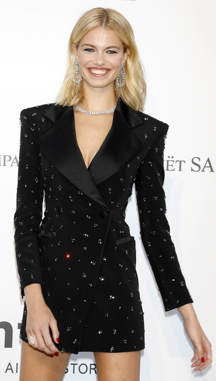Hailey Clauson's embellished black mini dress from Redemption