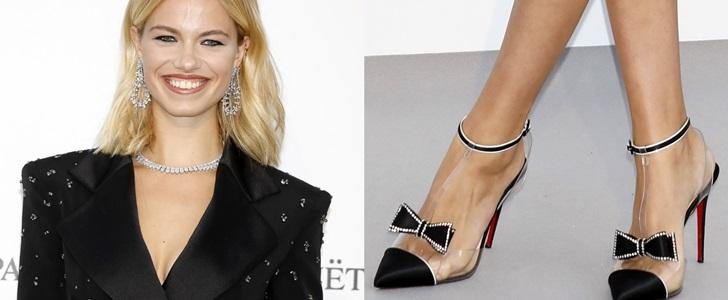 Hailey Clauson's Hot Feet and Slender Legs in Black Mini Dress