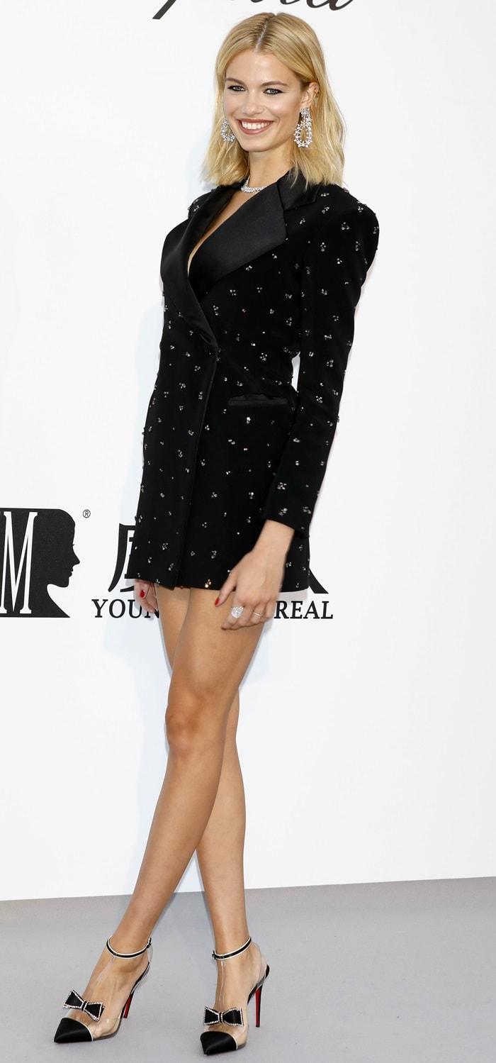 Hailey Clauson flaunted her slender legs at the 2019 amfAR Cannes Gala