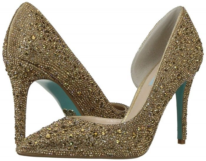 Blue by Betsey Johnson's Hazil pumps boast all the sparkling rhinestone glamour you could possibly want combined with a sophisticated d'Orsay silhouette