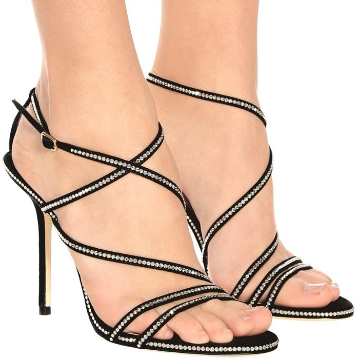 Jimmy Choo Dudette 100 crystal-embellished suede sandals