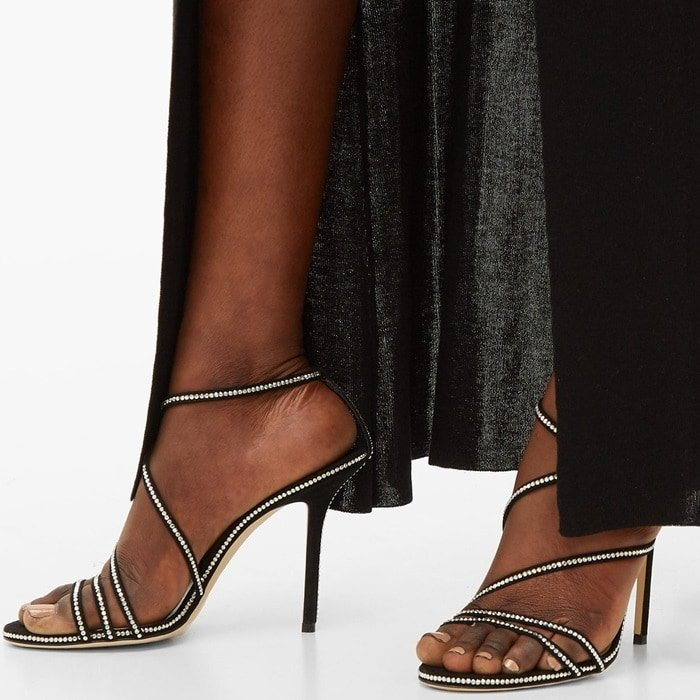 Jimmy Choo's black suede Dudette sandals channel the season's fondness for retro-tinged, barely there styles