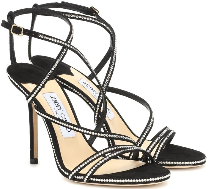 This style has been crafted from black suede and features shimmering crystals studded across the strappy upper