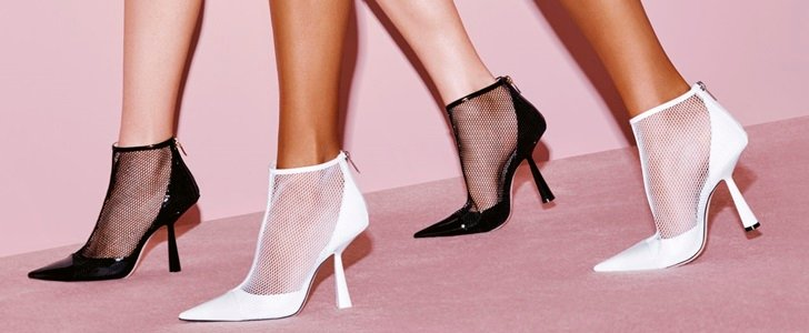 Kix Booties Matching Mesh With Patent Leather and Architectural Heel