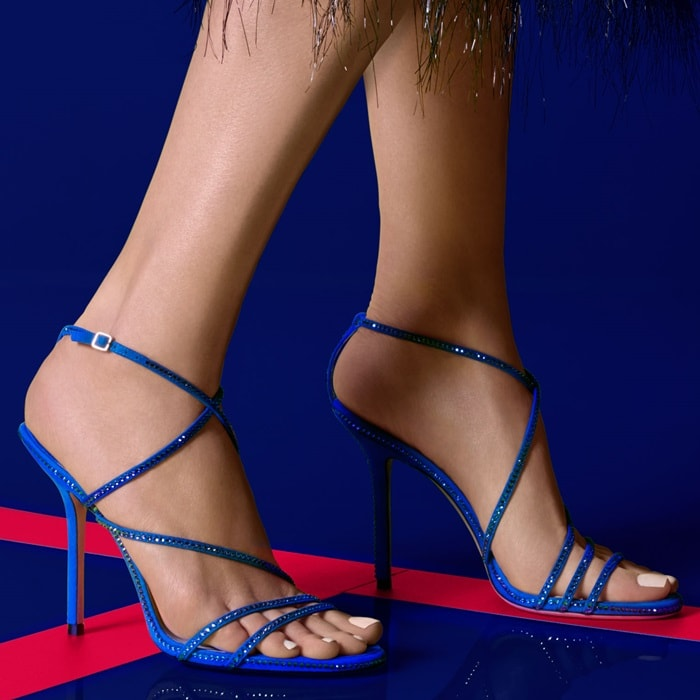 Dudette 100 in electric blue suede with jewel trim is the perfect understated evening sandal