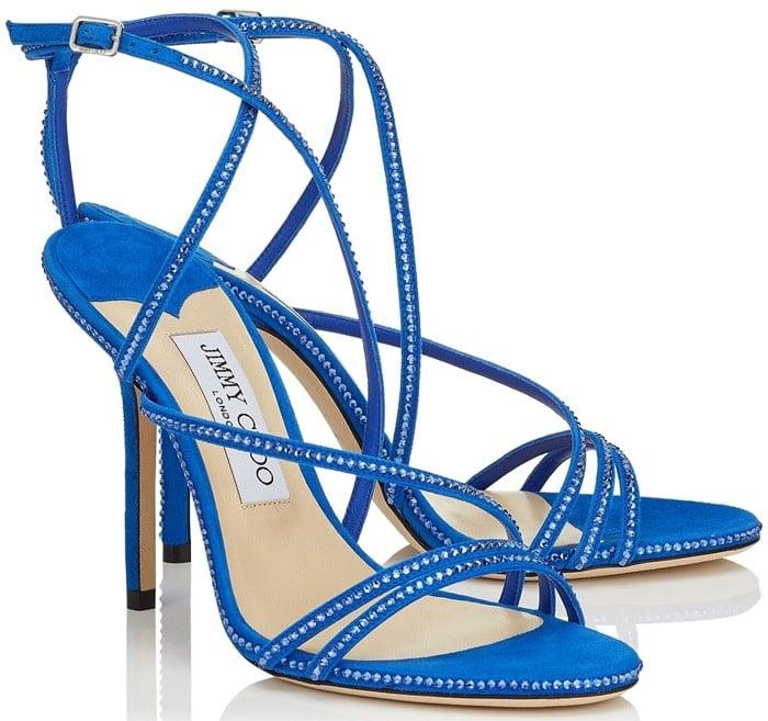 Dudette 100 Electric Blue Suede Open Toe Sandal with Hotfix Jewel Trim