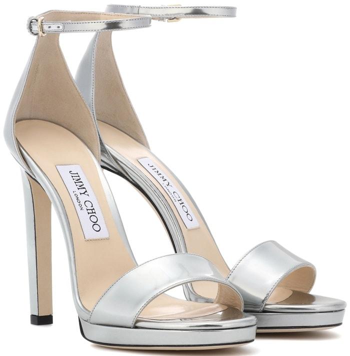 MISTY 120 Silver Liquid Mirror Leather Platform Sandals
