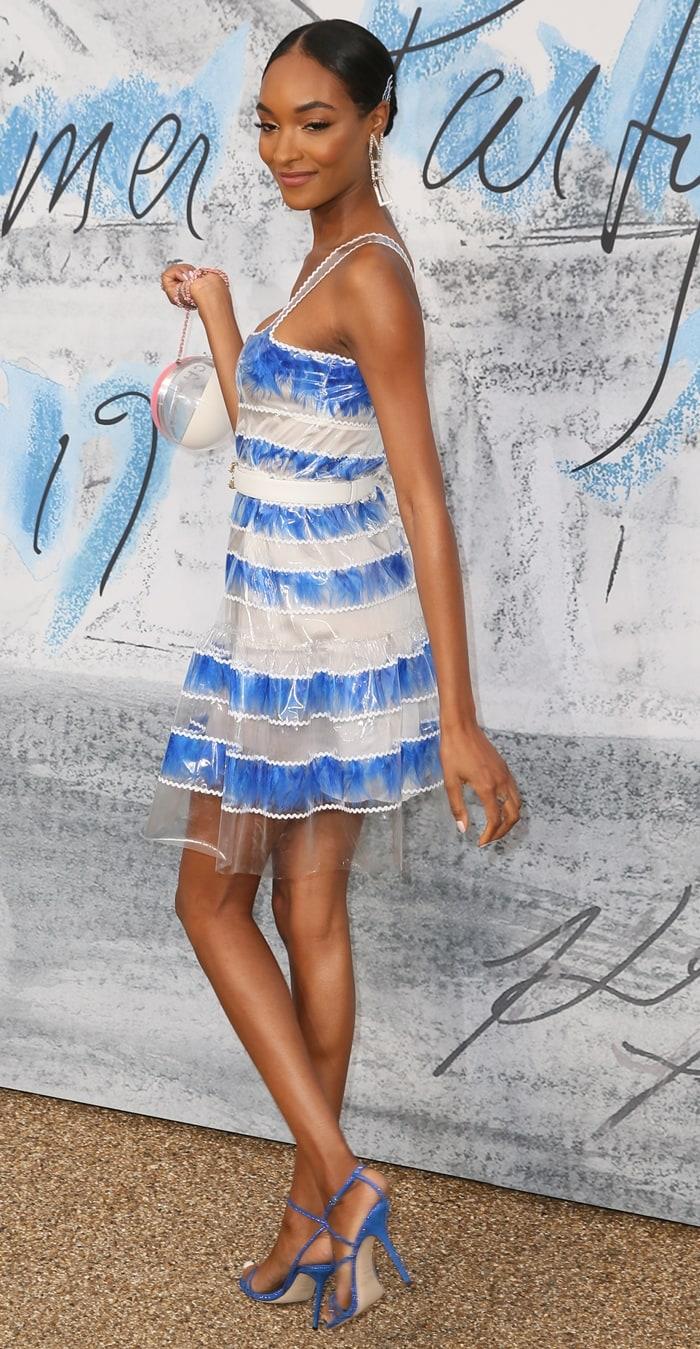 Jourdan Dunn flaunted her legs in a waterproof skater dress from Chanel