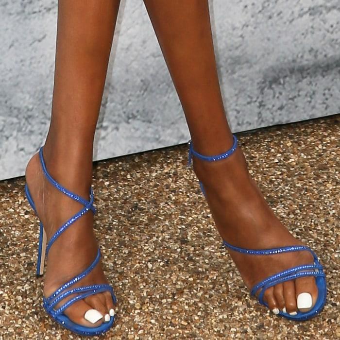 Jourdan Dunn's sexy feet in electric blue Dudette sandals by Jimmy Choo