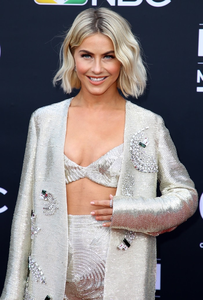 Julianne Hough's underwire bra top and silver cardigan