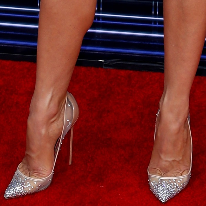 Julianne Hough's hot feet and toe cleavage in Christian Louboutin's Follies Strass pumps