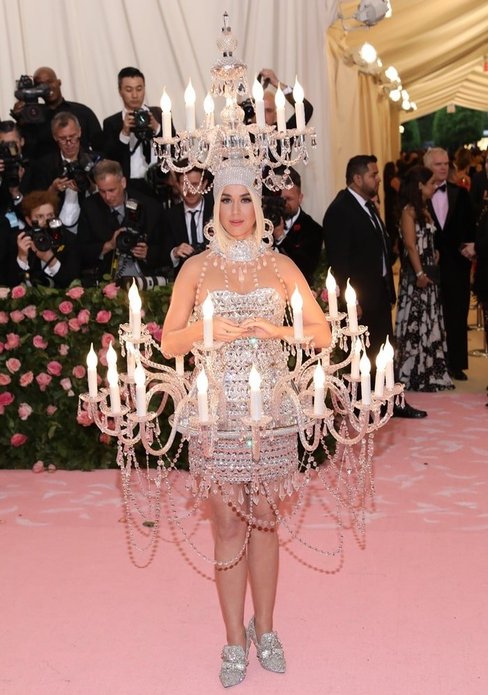 Katy Perry wears a candled chandelier dress at the 2019 Met Gala