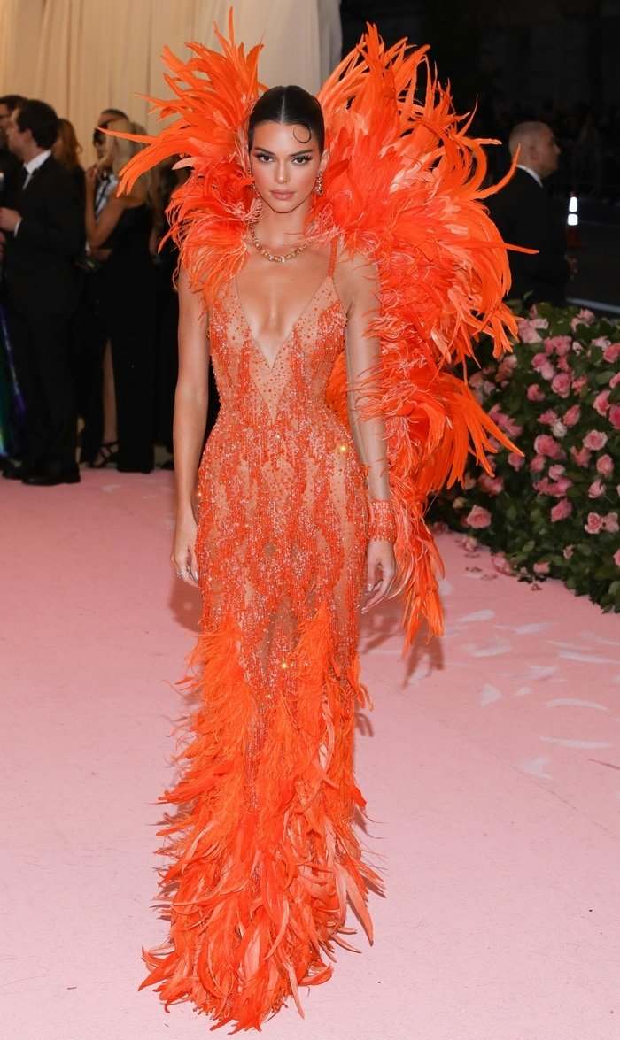Kendall Jenner's orange feather dress at the 2019 Met Gala