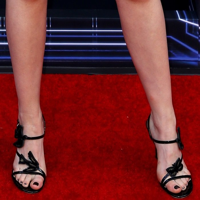 Kiernan Shipka's sexy feet in embellished Dior sandals