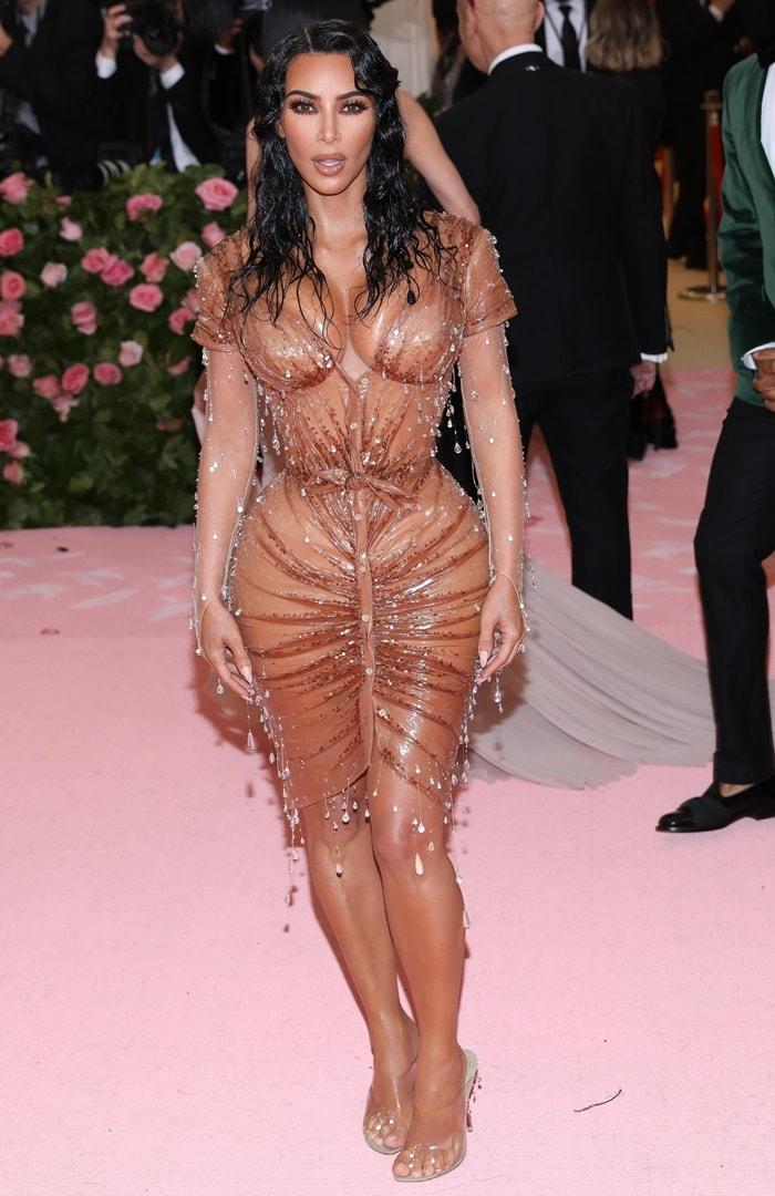 Kim Kardashian's glazed croissant dress by Manfred Thierry Mugler