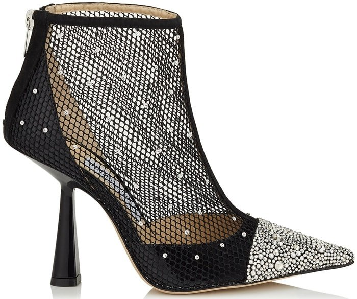 These boots are crafted with a curved, inverted heel and a point toe that is set with a crystal-embellished cap, then finished with black patent leather panels across the heel and over the toes