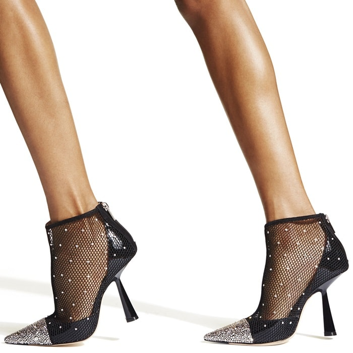 Sandra Choi's opulent vision for Jimmy Choo shines through in the glamorous composition of these black mesh Kix ankle boots