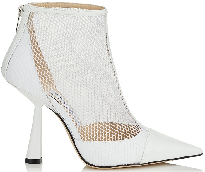 Latte Kix Fishnet and Patent-Leather Ankle Boots
