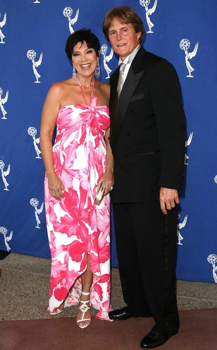 Kris Jenner, pictured with Bruce/Caitlyn Jenner at the 2004 Emmy Awards, has a net worth of around $90 million dollars
