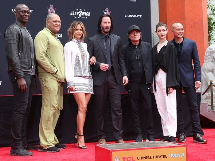 Lance Reddick, Laurence Fishburne, Halle Berry, Keanu Reeves, Ian McShane, Asia Kate Dillon, and Mark Dacascos attend Keanu's hand and footprint ceremony