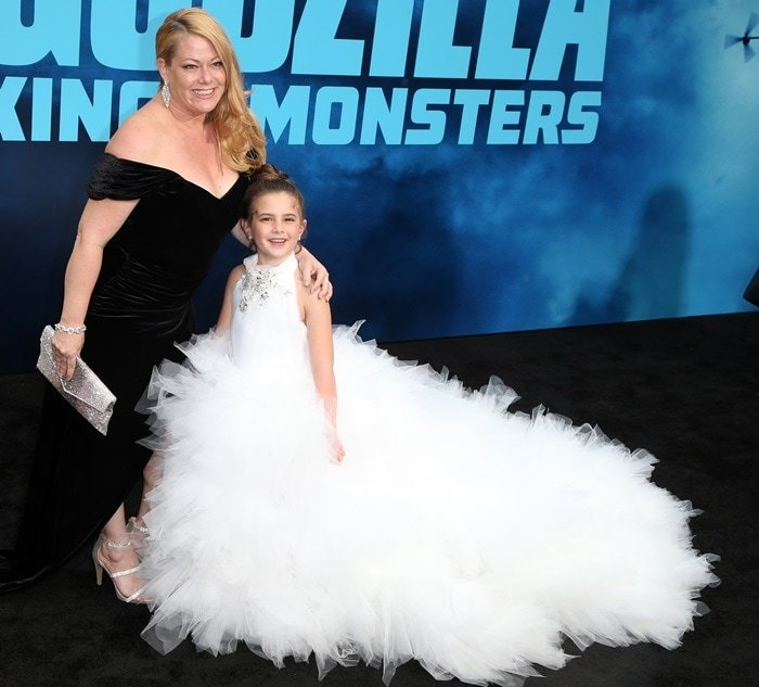 Lexi Rabe posing with her mother, Jessica S Rabe, at the premiere of Godzilla: King of Monsters