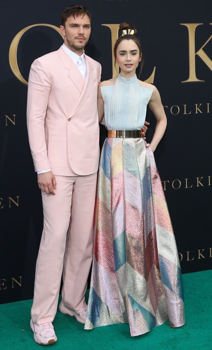 Lily Collins and Nicholas Hoult hit the green carpet together at the premiere of Tolkien