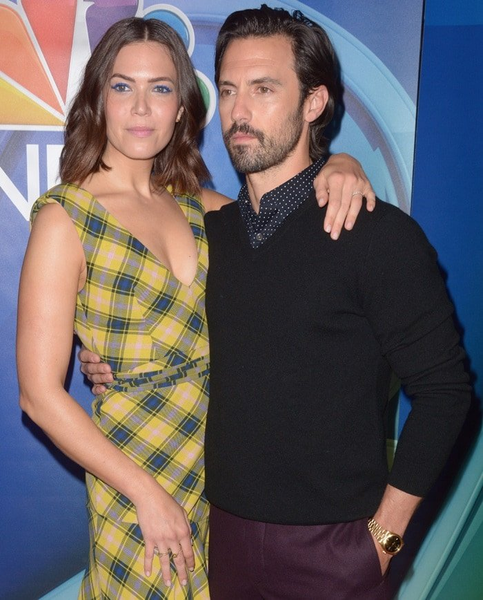 Mandy Moore's ugly asymmetric checked cotton and wool-blend dress