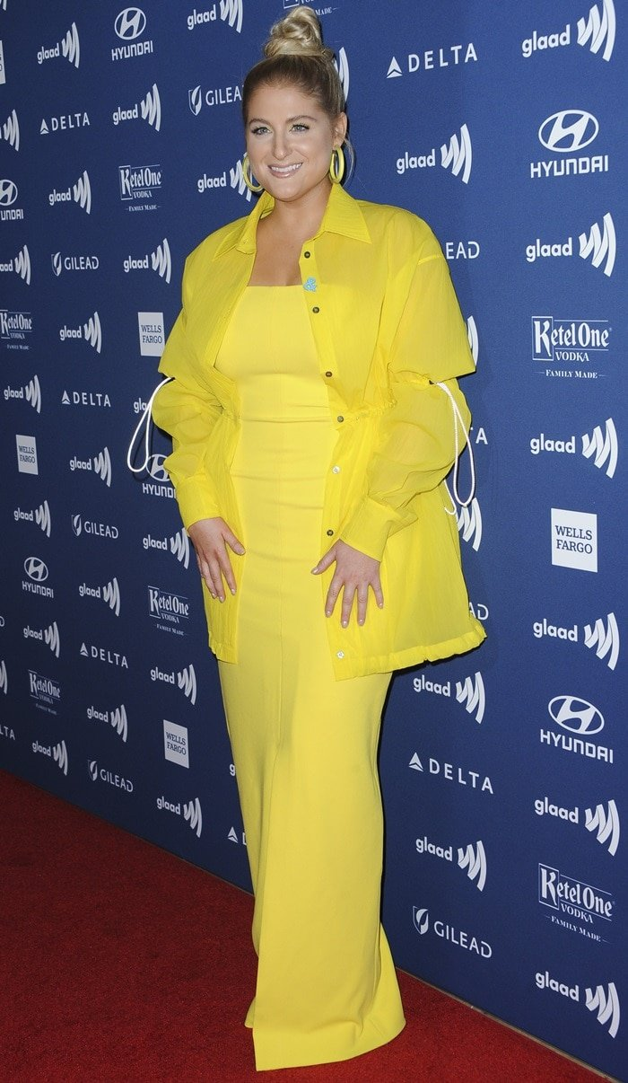 Meghan Trainor looked chic in yellow at the 2019 GLAAD Media Awards
