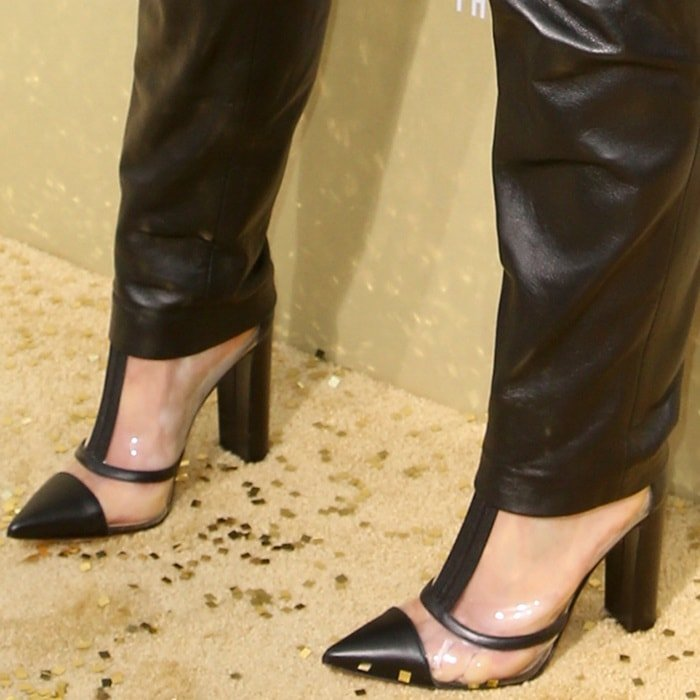 Meghan Trainor's sweaty feet in Vitello ankle booties by Gianvito Rossi