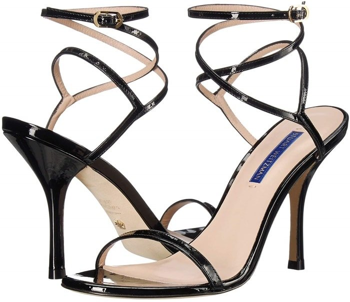 Set on 95mm stiletto heels, these sandals are made from glossy patent-leather and have slim straps that wrap elegantly around the ankle
