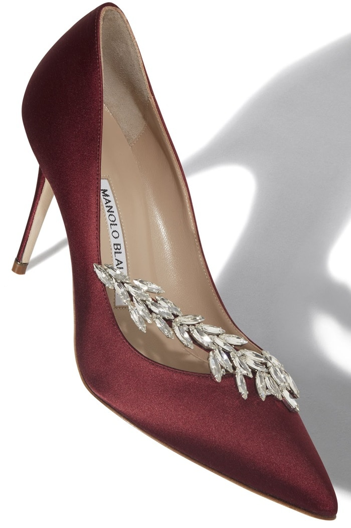 Manolo Blahnik Satin Nadira Pumps