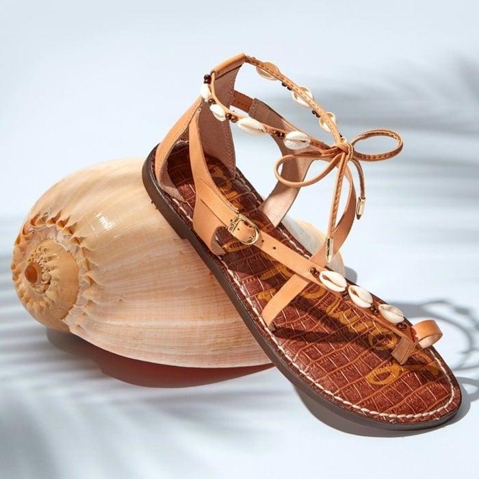 Natural Seashell-Embellished Garten Sandals