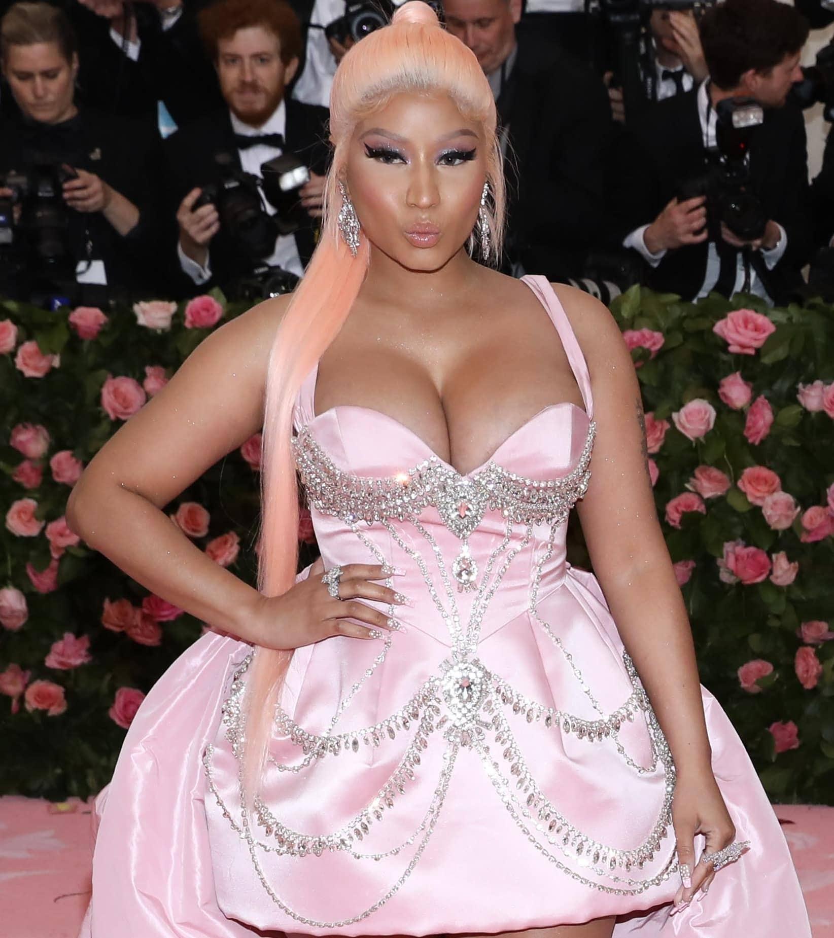 Nicki Minaj looked sad in a crystal-embellished Prabal Gurung blush dress