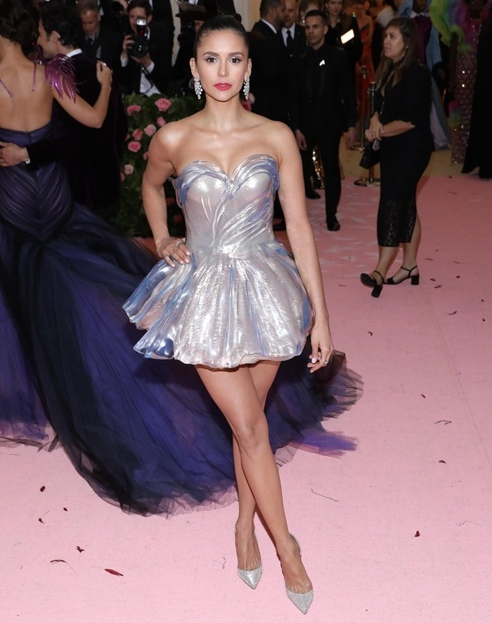 Nina Dobrev flaunted her legs at the 2019 Met Gala