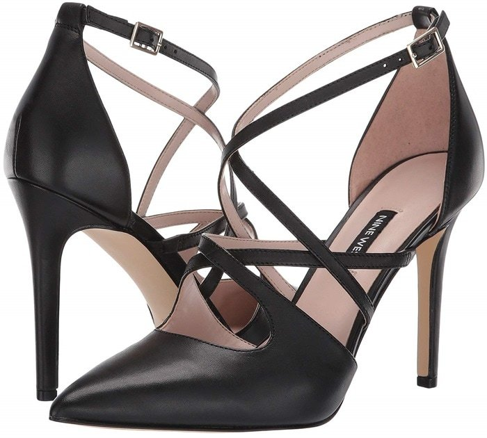 "Asymmetrical styling brings an ultra-modern vibe to the party-ready Tuluiza pointy-toe pumps lifted by a sky-high 4"" heel"