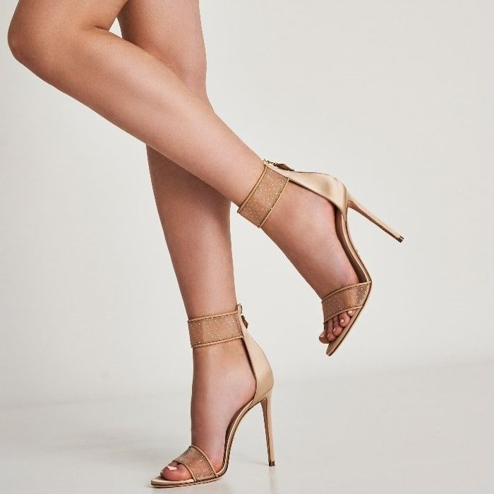 The Liana net sandals feature glitter details, an open toe, an ankle strap, a high stiletto heel and a back zip fastening