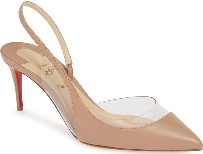 Transparent details work the curves on a half d'Orsay pump with a slender slingback and heel that can take you from 9-5 and into the evening hours