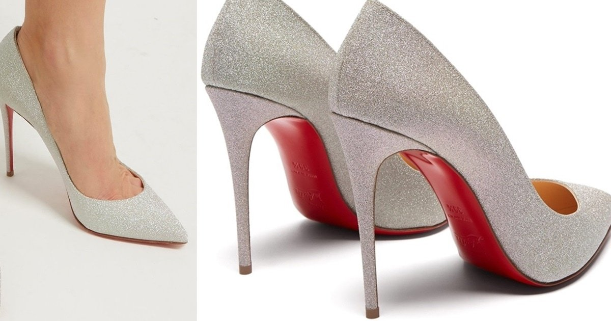 new york 476ab 3642f Iridescent Silver Glitter Pigalle Follies Pumps by Christian ...