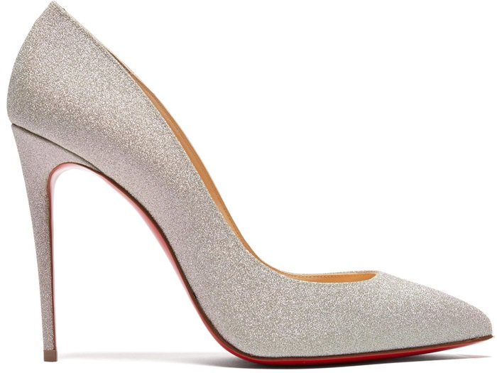 These iridescent silver glitter Pigalle Follies pumps are the latest incarnation of Christian Louboutin's iconic signature style