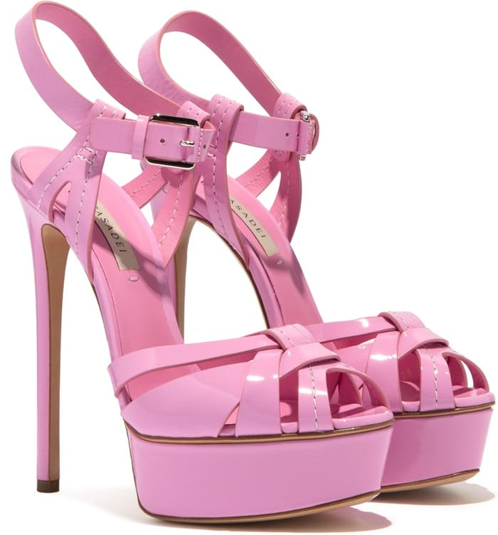 The statement platform in girly pink patent leather adds a lavish touch to your styling