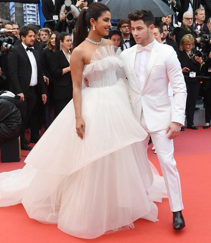 Priyanka Chopra's off-white tulle strapless bridal gown