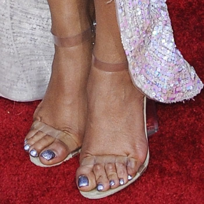 Priyanka Chopra showed off her feet in atrocious Yeezy sandals