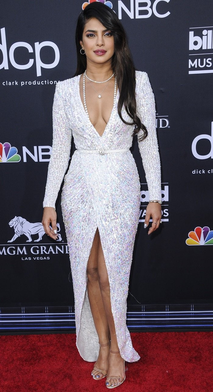Priyanka Chopra paraded her legs in a white sequined dress