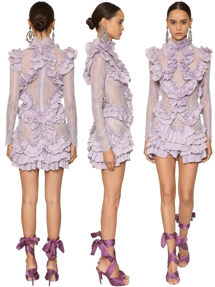 Raisa & Vanessa Purple Pleated & Ruffled Mini Dress