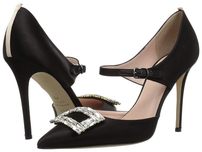 Sparkling point-toe Mary-Janes with an embellished buckle design