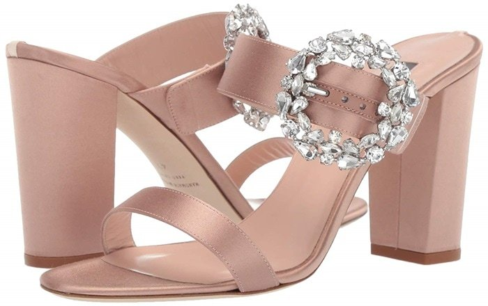 The Celia embellished sparkle slide sandals are SO SPARKLY and beautiful and fun