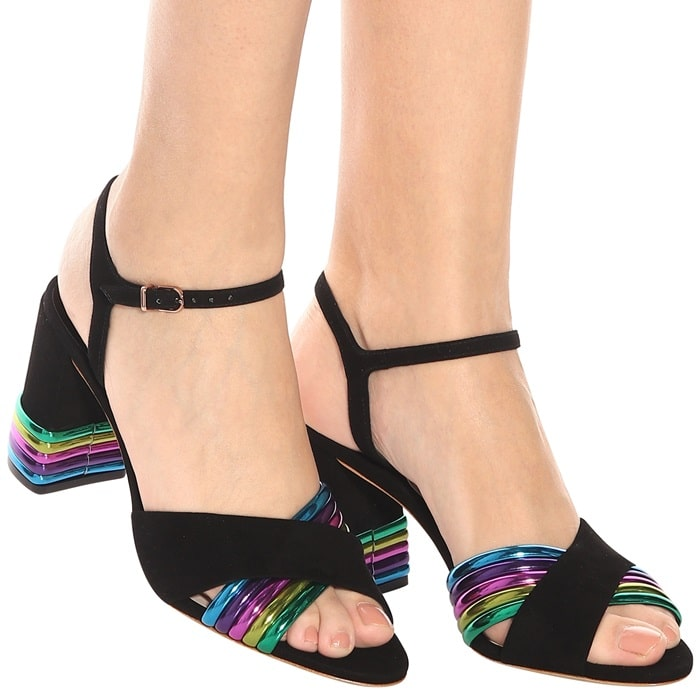 This pair is made from inky-black suede and is set on a chunky 85mm block heel for dancing in comfortably all night