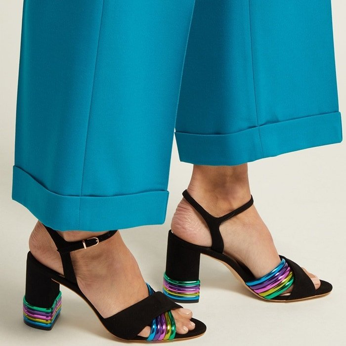 Add some pep to your step with Sophia Webster's rainbow-spliced Joy sandals