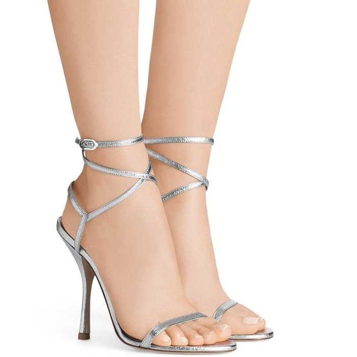 Silver Metallic Merinda Patent Leather Sandals