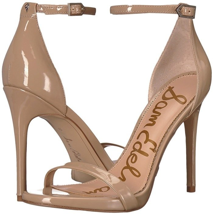 Slender straps bridge the toe and encircle the ankle in this barely there sandal lifted by a leg-lengthening stiletto
